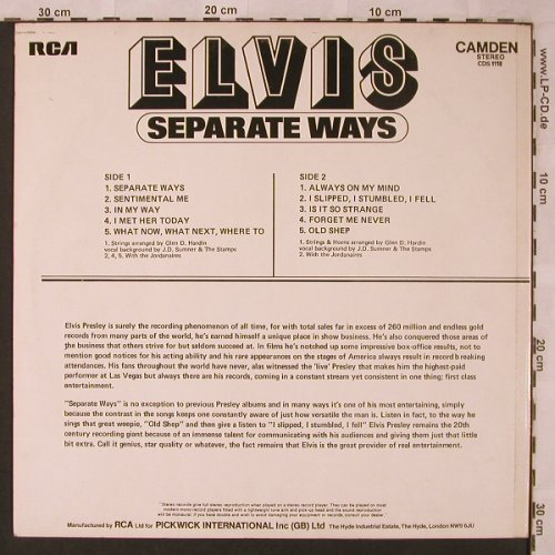 Presley,Elvis: Separate Ways, RCA Camden(CDS 1118), UK, 1973 - LP - X2449 - 5,50 Euro