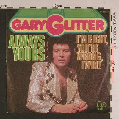 Glitter,Gary: Always Yours, m-/vg+, Bell(2008 255), D, 1974 - 7inch - S7713 - 1,50 Euro