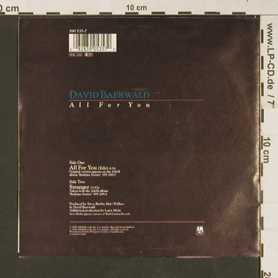 Baerwald,David: All for you, AM(390 535-7), D, 1990 - 7inch - S9176 - 3,00 Euro