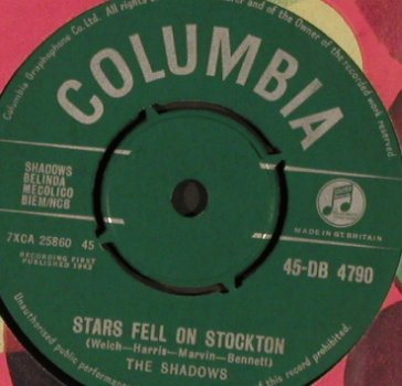 Shadows: Wonderful Land/Stars fell on Stockt, Columbia(45-DB 4790), UK, FLC, 1962 - 7inch - S9794 - 15,00 Euro