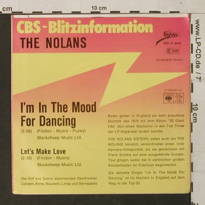 Nolans: I'm in the Mood for Dancing, Epic/CBS BlitzInfo(EPC S 8068), D,Muster, 1979 - 7inch - T1552 - 3,00 Euro