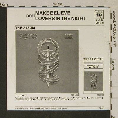 Toto: Make Believe / Lovers In The Night, CBS(CBS A 2997), NL, 1982 - 7inch - T1704 - 3,00 Euro