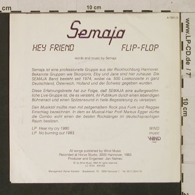Semaja: Hey Friend / Flip-Flop, Wind Music(WM 003), D, 1983 - 7inch - T1796 - 4,00 Euro