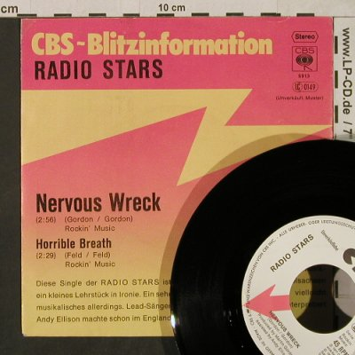 Radio Stars: Nervous Wreck / Horrible Breath, CBS BlitzInfo(CBS S 5913), D,Musterpl, 1978 - 7inch - T1847 - 10,00 Euro