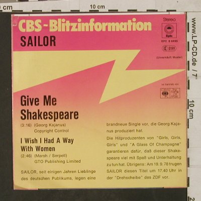 Sailor: Give Me Shakespeare, Epic/CBS-Blitzinfo(EPC S 6695), D, 1978 - 7inch - T1875 - 4,00 Euro