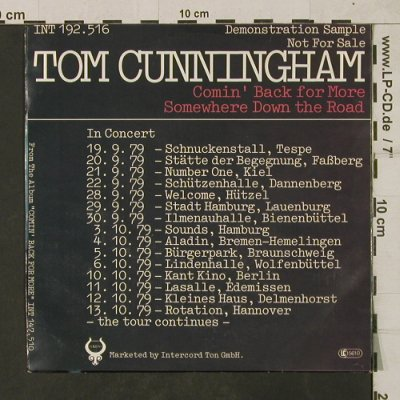 Cunningham,Tom: Comin' Back for more/Somewhere down, Toledo-DemoSample(INT 192.516), D, 1979 - 7inch - T1881 - 3,00 Euro
