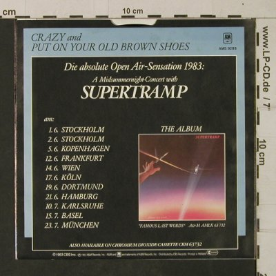 Supertramp: Crazy/Put on your old brown shoes, AM(AMS 9285), D, 1982 - 7inch - T1970 - 3,00 Euro