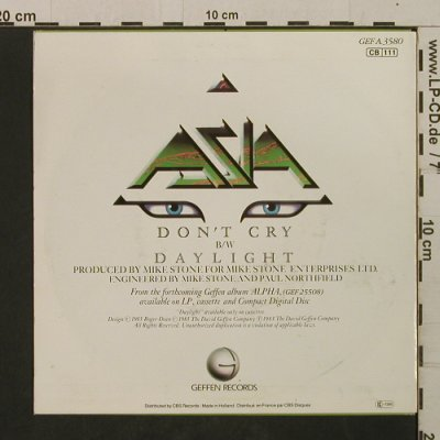 Asia: Don't Cry / Daylight, woc, Geffen(A 3580), NL, 1983 - 7inch - T2095 - 2,00 Euro