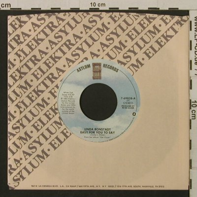 Ronstadt,Linda: Easy For You To Say/Mr. Radio, FLC, Asylum(7-69838), US, 1982 - 7inch - T2150 - 2,50 Euro