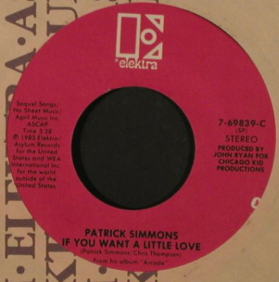 Simmons,Patrick: So Wrong/If You Want A Little Love, Elektra(7-69839), US, FLC, 1983 - 7inch - T2152 - 2,00 Euro
