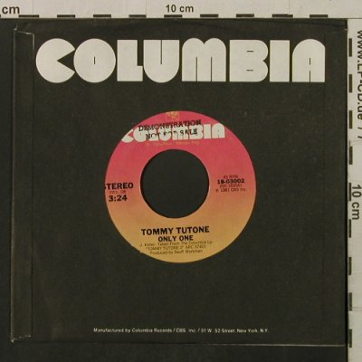 Tutone,Tommy: Only One/Which Man Are You, FLC, Columbia,Promo-STOL(18-03002), US, 1981 - 7inch - T2160 - 2,00 Euro