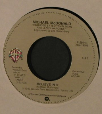 McDonald,Michael: Playin' By The Rules/Believe In It, WB(7-29743), US, FLC, 1982 - 7inch - T2171 - 2,00 Euro
