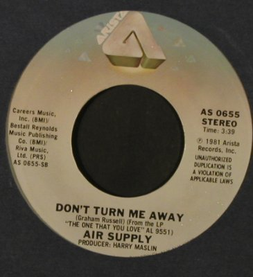 Air Supply: Sweet Dreams/Don't Turn Me Away,FLC, Arista(AS 0655), US, 1981 - 7inch - T2194 - 2,50 Euro