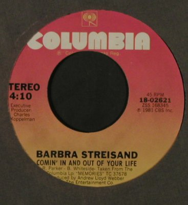 Streisand,Barbra: Lost Inside Of You/Comin'In And Out, Columbia/PromoStol(18-02621), US, FLC, 1981 - 7inch - T2195 - 4,00 Euro