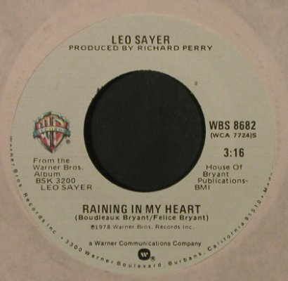 Sayer,Leo: No Looking Back/Raining In MyHeart, WB(WBS 8682), US, FLC, 1978 - 7inch - T2236 - 2,00 Euro