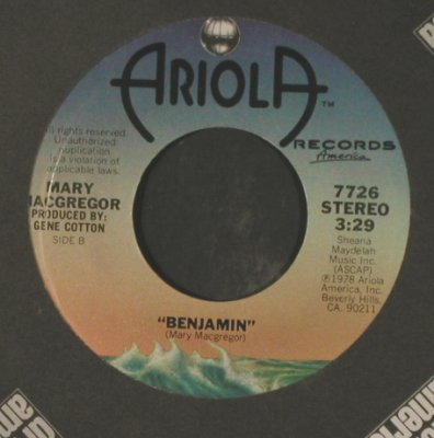 MacGregor,Mary: Wedding Song/Benjamin, FLC, Ariola(7726), US, 1978 - 7inch - T2255 - 1,50 Euro