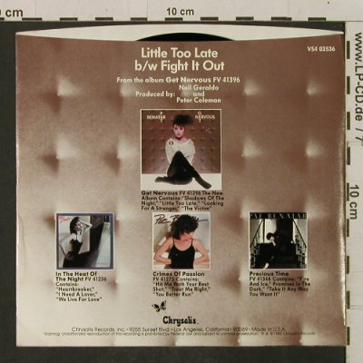 Benatar,Pat: Little Too Late / Fight It Out, Chrysalis(VS4 03536), US, 1983 - 7inch - T2272 - 2,50 Euro