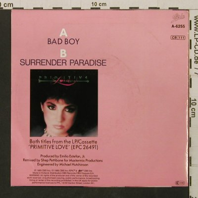 Miami Sound Machine: Bad Boy / Surrender Paradise, Epic(A-6255), NL, 1985 - 7inch - T2753 - 2,50 Euro
