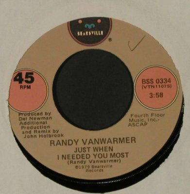 Vanwarmer,Randy: Just When I NeededYouMost/YourLight, Bearsville,LC,wol(BSS 0334), US, 1979 - 7inch - T2824 - 1,50 Euro