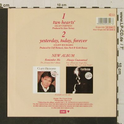 Richard,Cliff: Two Hearts/Yesterday Today Forever, EMI(20 2344 7), D, 1987 - 7inch - T3081 - 3,00 Euro