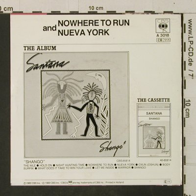 Santana: Nowhere To Run / Nueva York, CBS(A 3018), NL, 1982 - 7inch - T3524 - 3,00 Euro