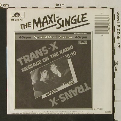 Trans-X: Message On The Radio / Nitelife, Polydor(815 773-7), D, 1983 - 7inch - T3536 - 2,50 Euro