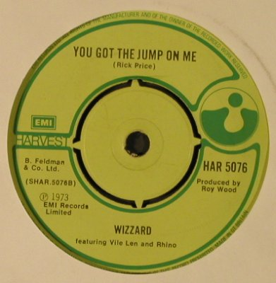 Wizzard: Angel Fingers / You got the jump on, Harvest(HAR 5076), UK, LC, 1973 - 7inch - T3847 - 2,50 Euro