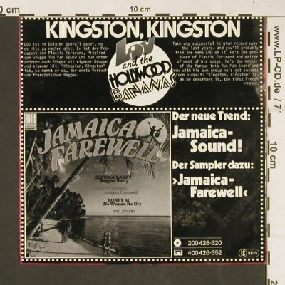 Lou & Hollywood Bananas: Kingston, Kingston,french-engl.vers, Hansa(100 461-100), D,  - 7inch - T386 - 3,00 Euro
