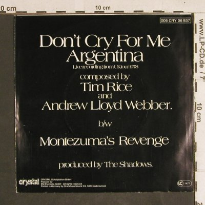 Shadows: Don't Cry for me Argentina, Crystal(006 CRY 06 937), D, 1978 - 7inch - T4311 - 2,50 Euro