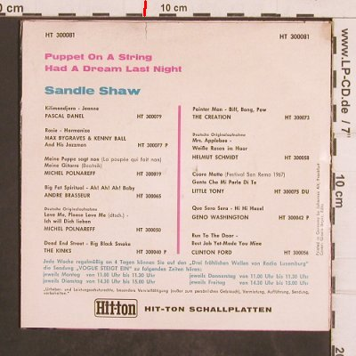 Shaw,Sandie: Puppet On A String, vg+/vg+, PYE(HT 300081), D, 1967 - 7inch - T4947 - 2,50 Euro