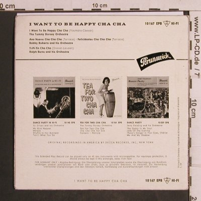 V.A.I want to be happy Cha Cha: Dorsey,Bobby Roberts,Ralph Burns, Brunswick(10 167 EPB), D,vg+/m-,  - EP - T5022 - 4,00 Euro