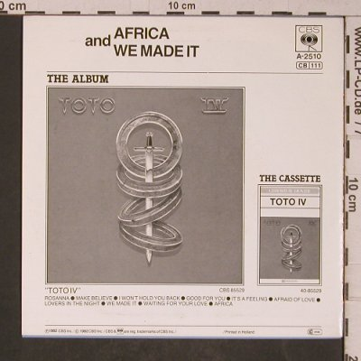 Toto: Africa / We Made It, CBS(A-2510), NL, 1982 - 7inch - T5247 - 3,00 Euro