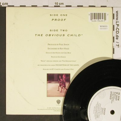 Simon,Paul: Proof / The Obvious Child, WB(W 0003), UK, 1991 - 7inch - T821 - 3,00 Euro