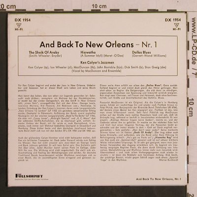 Colyer's Jazzmen,Ken: And Back To New Orleans Nr.1, Decca(DX 1954), D, 3 Tr.,  - EP - T4380 - 4,00 Euro
