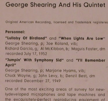 Shearing,George and his Qiuntet: Lullaby of Birdland, vg+/m-, MGM(63 005), D,Mono,  - 7inch - T4855 - 3,00 Euro