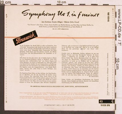 Graas,John: Symphony No 1 in f minor, Brunswick(10 028 EPB), D,vg+/m-, 1955 - EP - T4910 - 5,00 Euro