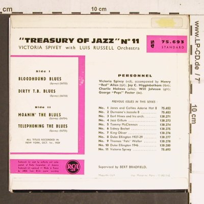 Spivey,Victoria-w.Luis Russell Orch: Trasure of Jazz - 11, m-/vg+, RCA(75.693), F,  - EP - T4228 - 5,00 Euro