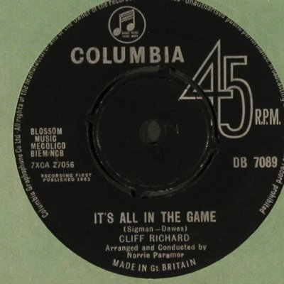 Richard,Cliff: It's all in the Game/Your eyes..FLC, Columbia, woc(DB 7089), UK,vg+/vg+,  - 7inch - S8847 - 7,50 Euro