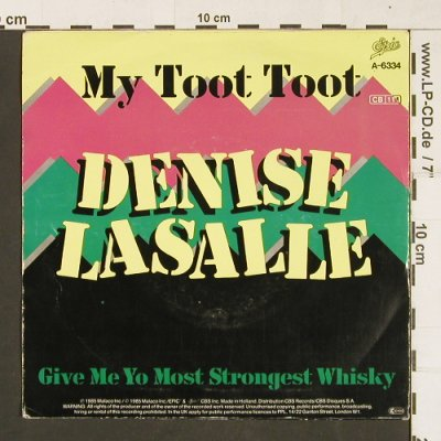 Lasalle,Dennis: My Toot Toot, Epic(A-6334), D, 1985 - 7inch - S9804 - 2,50 Euro