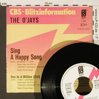 O'Jays,The: Sing A Happy Song, CBS(PIR S 7825), D,Muster, 1979 - 7inch - S9845 - 2,50 Euro