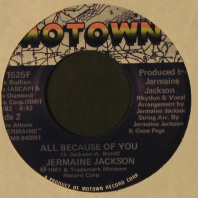 Jackson,Jermaine: I'm Just Too Shy/All Because Of You, Motown(M 1525F), US, LC, 1981 - 7inch - T2496 - 2,50 Euro