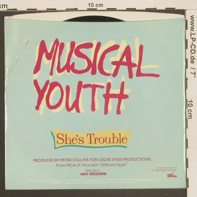 Musical Youth: She's Trouble / Yard Style, MCA/Promo-stol(52312), US, m-/vg+, 1983 - 7inch - T2536 - 2,00 Euro