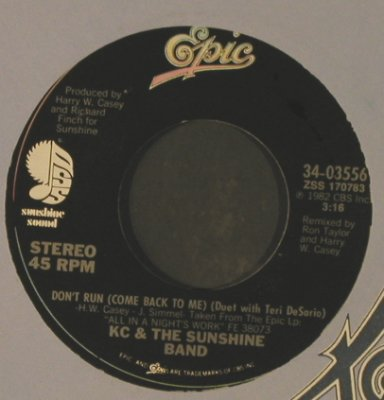 KC & The Sunshine Band: Don't Run / On The One, FLC, stoc, Epic(34-03556), US, 1982 - 7inch - T2580 - 3,00 Euro