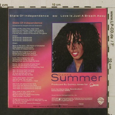 Summer,Donna: State Of Independence / Love Is Jus, WB(79 344), D, 1982 - 7inch - T3512 - 2,50 Euro
