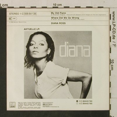 Ross,Diana: My Old Piano / Where Did We Go Wron, Motown(006-64 138), D, 1980 - 7inch - T3520 - 3,00 Euro