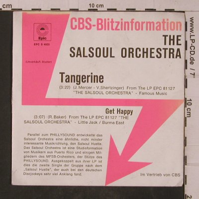 Salsoul Orchestra: Tangerine, CBS-Blitzinfo, Epic(EPC S 4003), D, Promo, 1976 - 7inch - T4777 - 3,00 Euro