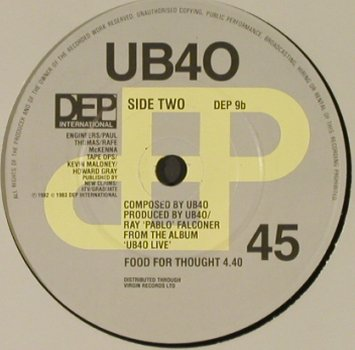 UB 40: Many Rivers To Cross/FoodForThought, DEP Int.(DEP 9), UK, LC, 1983 - 7inch - T2296 - 3,00 Euro