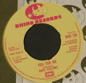Collins,Dave: Ride your Pony / You for Me FLC,wol, Rhino(RNO 105), UK, 1972 - 7inch - T647 - 5,00 Euro