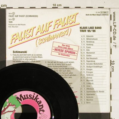 Lage,Klaus Band: Faust auf Faust / Taxi, Musikant(0061470857), D, 1985 - 7inch - S9998 - 2,50 Euro
