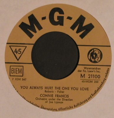 Francis,Connie: My Happiness/You Always hurt...LC, MGM(M 21100), D,  - 7inch - T4423 - 3,00 Euro